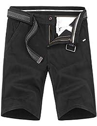 LuckyGirls Hombres Pantalones de Cargo Verano Color Sólido Casual Deportivas Respirable Pantalón Corto Suelto Pantalones +