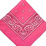 HOT PINK cotton bandana scarf SQUARE BLACK WHITE PAISLEY by TC-Accessories