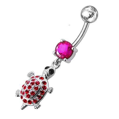Rote Kristall Stein Trendy Turtle Design Sterling Silber Bauch Bars Piercing