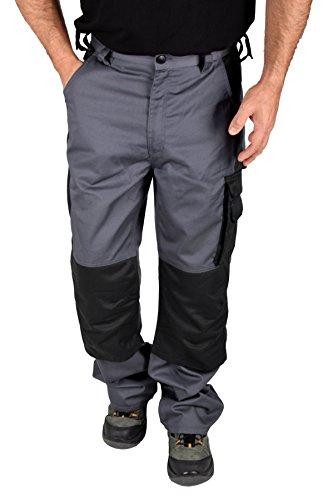 Preisvergleich Produktbild IWEA Stabile Arbeitshose Bundhose Berufshose Handwerker Cargohose Arbeitskleidung Grau IW063, 52/54 L, Grau/Schwarz Premium