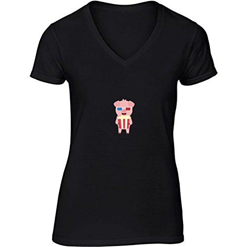 v-neck-black-t-shirt-for-women-large-size-cinema-pig-with-by-ilovecotton