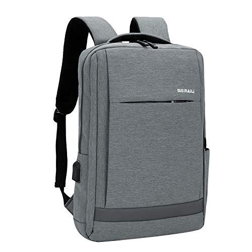 Litthing Business Laptop Rucksack Herren Damen Arbeitsrucksack Laptop Backpack mit USB-Ladeschnittstelle Headphone Port Anti-Diebstahl Wasserdichter Reißverschluss für Schule Reise Arbeit (Grau) - Familie-batterie-ladegerät
