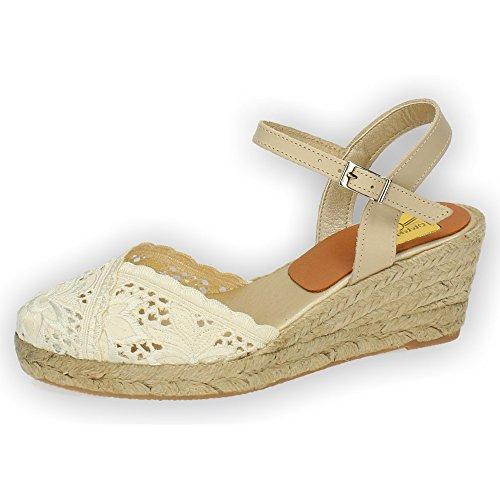 TORRES 5004 Zapatillas DE Encaje Mujer Alpargatas BEIG 38