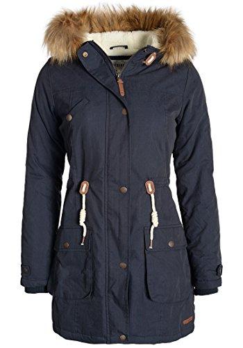 DESIRES Lewanda Damen Parka lange Winterjacke mit Kapuze und abnehmbarem Fellkragen, Größe:S, Farbe:Insignia Blue (1991) (Kapuze Abnehmbare)