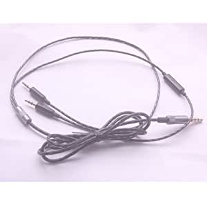 Xinkaize New High Quality New High Quality Black 2.5mm Upgrade Silver Audio Cable Mic for Sol Republic Earphones
