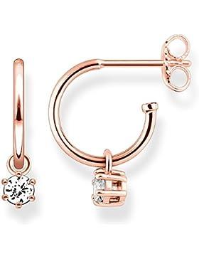 Thomas Sabo Damen-Ohrringe Creolen Glam & Soul 925 Sterling Silber 750 roségold vergoldet weiß Höhe 1 cm CR598...