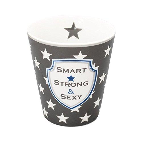 Krasilnikoff - Tasse, Becher, Mug - Beschriftung: Smart, Strong & Sexy - Porzellan - Höhe: 10 cm
