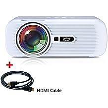 Projecteur vidéo LED, OGIMA 1200 Projecteur Home Lumen avec HDMI gratuit / VGA / USB / SD / HDMI / TV 800 * 480 Résolution pour 1080P Home Cinema Théâtre TV Game SD Smartphone Android, 1 AN GARANTIE