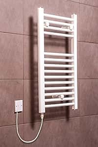 Electric Heated Towel Rail Warmer Radiator - White - 700 x 400 - 150W Manual