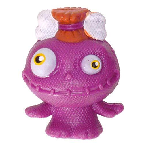 Mini Monster Stressball in lila mit Knochen im Haar - Baby Monster Antistressball Knautschball Knetball