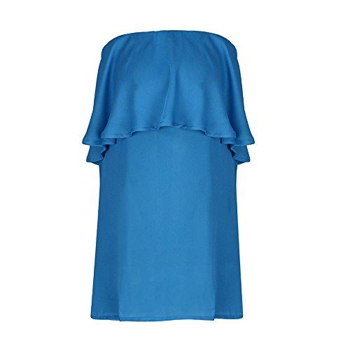 ESAILQ Damen Basic Longshirt Oberteil T-Shirt Top(XL,Blau)