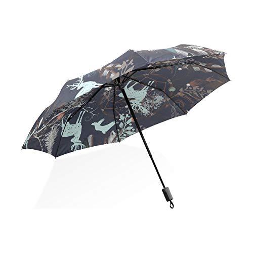 ISAOA Paraguas de Viaje automático Compacto Plegable Paraguas Tribal ilustración atrapasueños Resistente al Viento Ultra Ligero UV protección Paraguas para Mujeres y Hombres