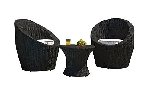 DCB GARDEN Salon bas Noir 70 x 70 x 80 cm TOTEM-3-FIDJI