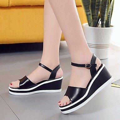 RUGAI-UE Mode d'été occasionnels Chaussures Femmes Sandales talons PU Confort Plein Air,marche,argent US5 / EU35 / UK3 / CN34 Black
