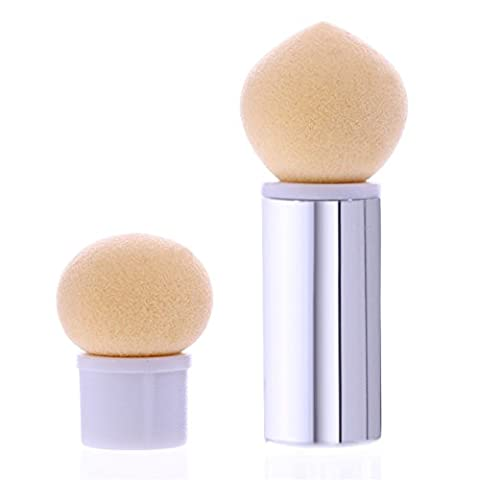 NICOLE DIARY 1Pc Sponge Heads Powder Brush Sharp Round Replaceable Gradient Shade Pen Short Handle Nail Art Tool (Silver)