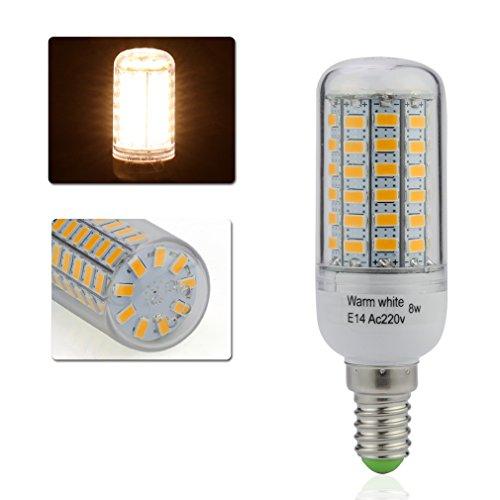Auralum® 2 Jahre Garantie 1 x 8W E14 500LM Warmweiß LED Mais Licht Leuchtmittel & Birne(8W 69LED)