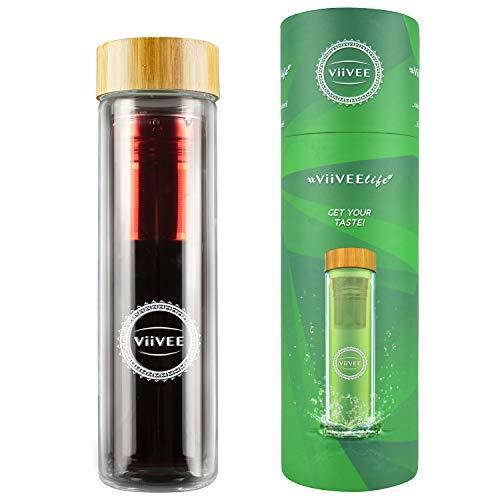 Viivee Life ® Teeflasche mit Sieb To Go (500ml) Thermoflasche für heiße & kalte Getränke Glas Trinkflasche 100% BPA Free Teekanne Doppelwandig für Tee | Detox | Smoothie | Infused Fruit Water -