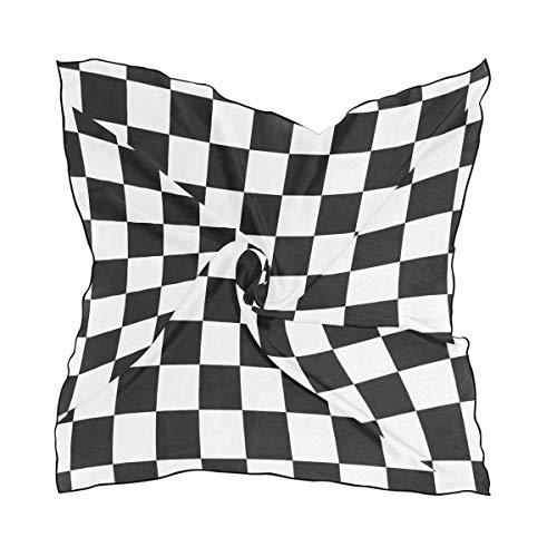 Voxpkrs Damenmode Schwarz und Weiß Grid Pattern Small Square Polyester Satin Schal Mixed Neck Wrap Kopftücher Adams Grid