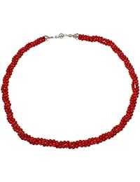 TreasureBay Impresionante collar de tres hebras de 3,5mm, color rojo coral, 50cm de longitud, en caja regalo