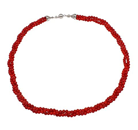 TreasureBay Stunning Three Strands 3.5mm Natural Red Coral Necklace length: 50cm- Presented in a Beautiful jewellery Gift Box