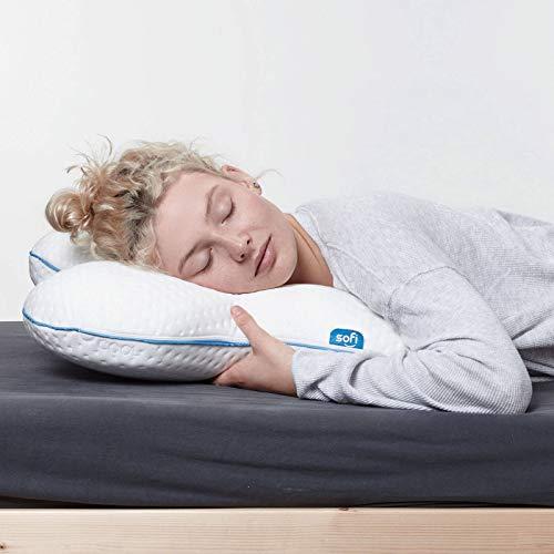 sofi Almohada Cervical viscoelástica Lateral | Almohada Mariposa ergonómica y ortopédica | Almohadas cervicales para Dormir de Lado con Espuma Memory Foam | Funda termorreguladora | 53 x 46 x 11 cm