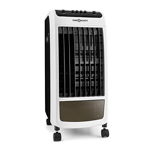 OneConcept CarribeanBlue Fresh White Edition - Rafraîchisseur d'air, 3 en 1, Ventilateur 3 Vitesses, Réservoir d'eau de 4L, Faible consommation, Jusqu'à 400m³, Blanc-Noir