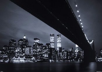 New York City Twin Towers World Trade Center unter der Brooklyn Bridge Skyline, Papier, 60.96 es x 34 cm (86,5 x 61 cm) - Twin Towers, Brooklyn Bridge