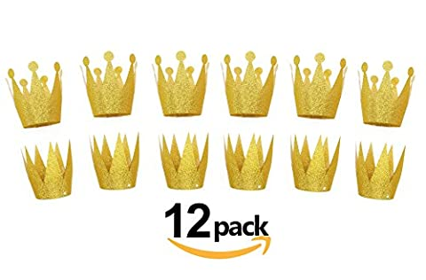 Gold Birthday Crown Hats, 12pcs Party Hat, Party Decorations Crowns (Gold)
