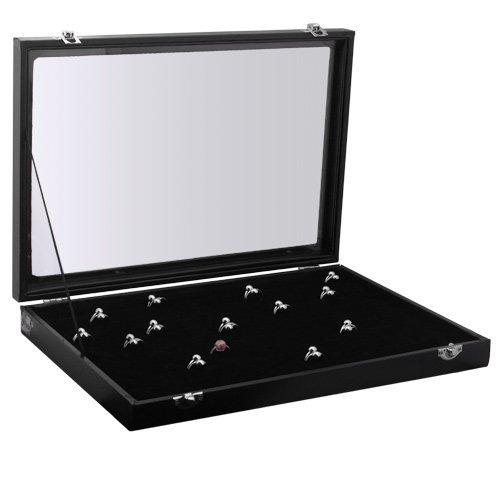 Amzdeal Portagioie scatole per gioieli ed anelli , Espositore 100 anelli con Finestra vetro Trasparente - 4.5 Di Alta Portagioie