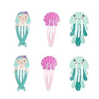 ACVIP Baby Kids Girls Mermaid Jellyfish Shell Snap Clips BB Hair Clip Barrettes Headwear (Light Blue)