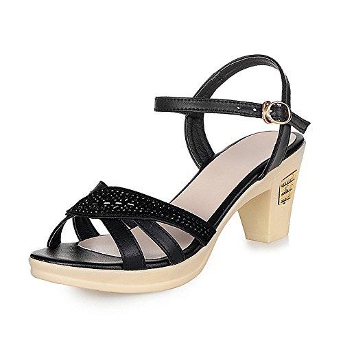 XY&GKSandales femme talon d'été Sandales en cuir véritable de Mama's Big Size Middle-Aged Rhinestone sandales talon haut sandales pour femmes, confortable et belle 35 black