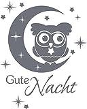 GRAZDesign 670202_30_071 Wandtattoo Gute nacht | Schlafzimmertattoo Aufkleber Wand-Deko Spruch in 47 Farben (38x30cm//071 grau)
