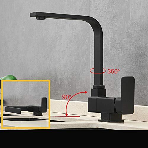 Küchenspüle aus schwarzem Kupfer für warmes und kaltes Wasser im Fenster, faltbar, kreatives Waschtischarmatur, drehbar für Innenbereich, Fenster, Küche, Fenster, Wasserhähne -