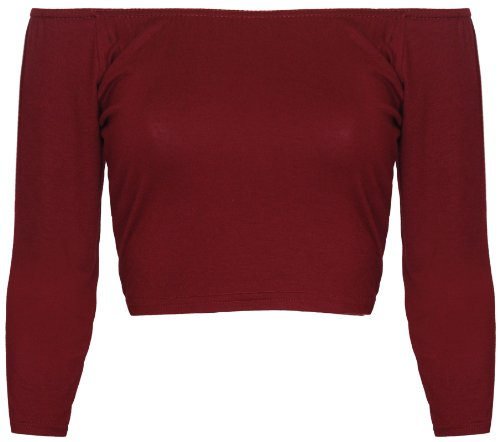 Purple Hanger - 3/4 Ärmel Dehnbare Elastische Halsausschnitt Bauchfreies Top T-Shirt Weinrot