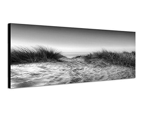 Weiß-wand-kunst-himmel Und Schwarz (Keilrahmenbild Panoramabild SCHWARZ / WEISS 150x50cm Sanddüne Gräser Meerblick Himmel)