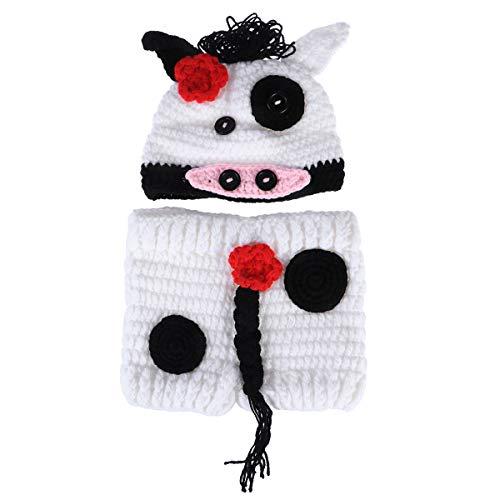 Kostüm Säuglings Kuh - YeahiBaby Neugeborene Foto-Shooting-Outfits Kuh Hut Hose häkeln Kostüm für Kleinkind Baby