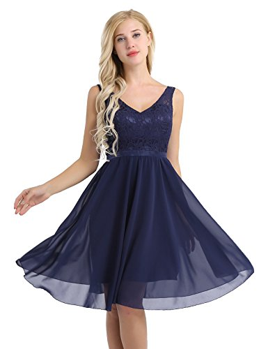 Feeshow Damen Ärmellos V-Ausschnitt Rückenfrei Blumen Spitze Chiffon Kleid festlich knielang Brautjungfer Cocktailkleid Party Abendkleid mit Träger Faltenrock Langes Kleid Navy Blue 36/38 (Kleid Plissee Satin Neckholder)