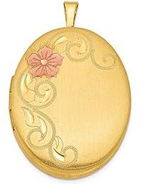 IceCarats Designer Schmuck Sterling Silber Vergoldet 26mm Satin emaillierten Medaillon Floral