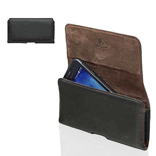 Smart Planet® Design Echt Leder Handy Tasche 4XL Gürteltasche kompatibel mit HTC U11+ U12+ / Huawei Honor 7X 8X / P20 Pro Mate 20 Lite - schwarz