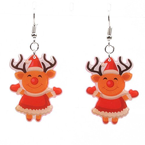 Fengteng Mädchen Ohrringe Davidshirsch Clown Maske Ohrhänger Süß Kleine Hirsch Ohrstecker Weihnachtsschmuck Geschenk (1)