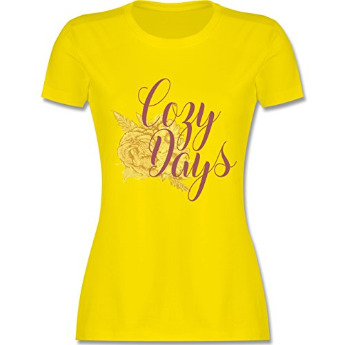 Shirtracer Statement Shirts - Cozy Days Lettering - Damen T-Shirt Rundhals Lemon Gelb