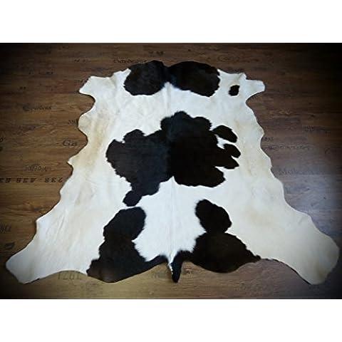 Pelle di vitello pelliccia toro PELLICCIA tappeto bianco - marrone