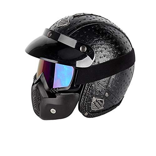 Qianliuk Moto MotorradHelme Vintage Motorrad-Kopfbedeckung offen Gesicht halb PU Leder Helm -