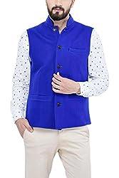 Owncraft Mens Indigo Wool Nehru Jacket 1