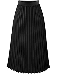 Heheja Damen Hohe Taille Chiffon Rock Freizeit Elegant Plissee Röcke b02126214f