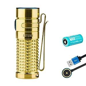 Olight S1R II Taschenlampe (Limitierte Edition aus Titan und Kupfer) 1000 Lumen / 130 Meter 4800K XM-L2 NW LED Wiederaufladbare Seitenschalter EDC-Taschenlampe, mit 16340 Batterie (Herbst (TI))