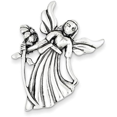 Icecarats Designer Di Gioielli In Argento Sterling Angelo Antico Smalto W / Flower Pin Pendant