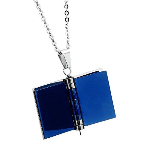 """AnazoZ Mode Bijoux Pendentif en acier inoxydable """"Love étages"""" livre Pendentif Collier pour Femme Choisissez Couleur Blue(Small)"""