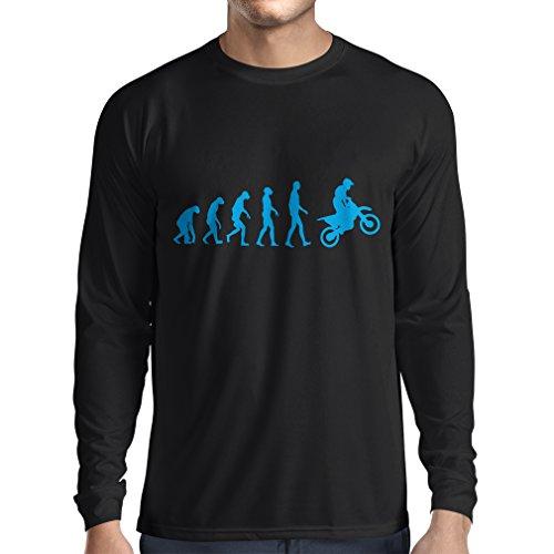 lepni.me Maglietta a Manica Lunga da Uomo Evoluzione Motocross, Moto Sporca, Maglia da Moto, Abbigliamento da Corsa, Moto da Fuoristrada (Medium Nero Blu)