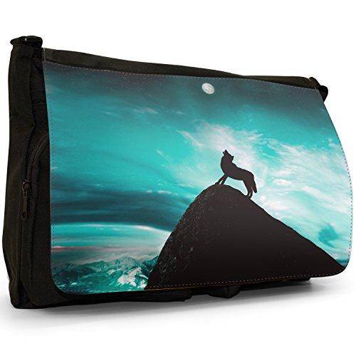 Lupo che ulula alla luna piena grandi classiche nero borsa a tracolla tela, scuola/Borsa Per Laptop Turquoise